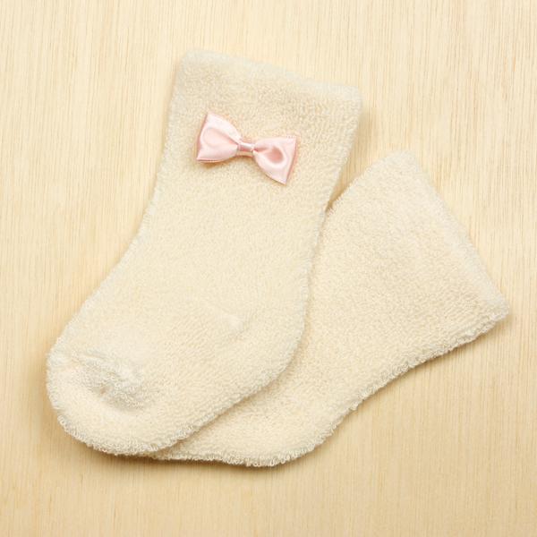サテンリボン ピンク パイル靴下