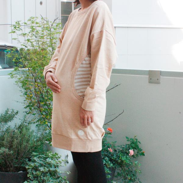 マタニティ対応>ブラウン スウェットドルマンワンピース | オーガニックコットン代官山の出産祝い&ベビー服Organically